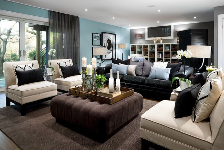 Wonderful Black Leather Sofa Decorating Ideas For Living Room Modern Design With Accent Cushions