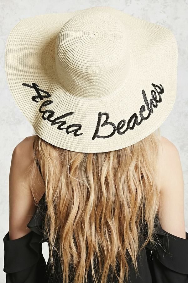 5e3c62f57d3 FOREVER 21+ Aloha Beaches Graphic Straw Hat Details A straw hat featuring  an