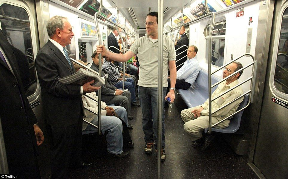 Mayor Bloomberg riding the subway (after Superstorm Sandy