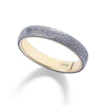 Handmade Wrought Iron Over 18k Yellow Gold Wedding Band From Mcteigue Mcclelland