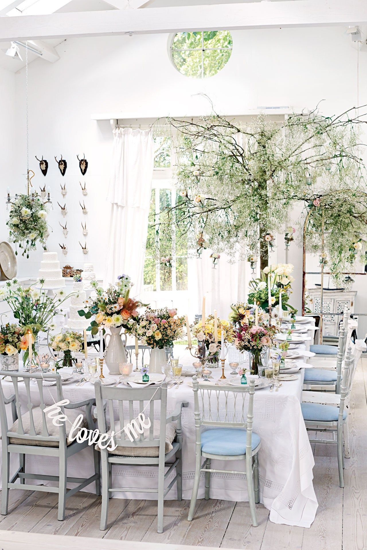 Luxe Informal White and Pastel Wedding Decorations (BridesMagazine ...