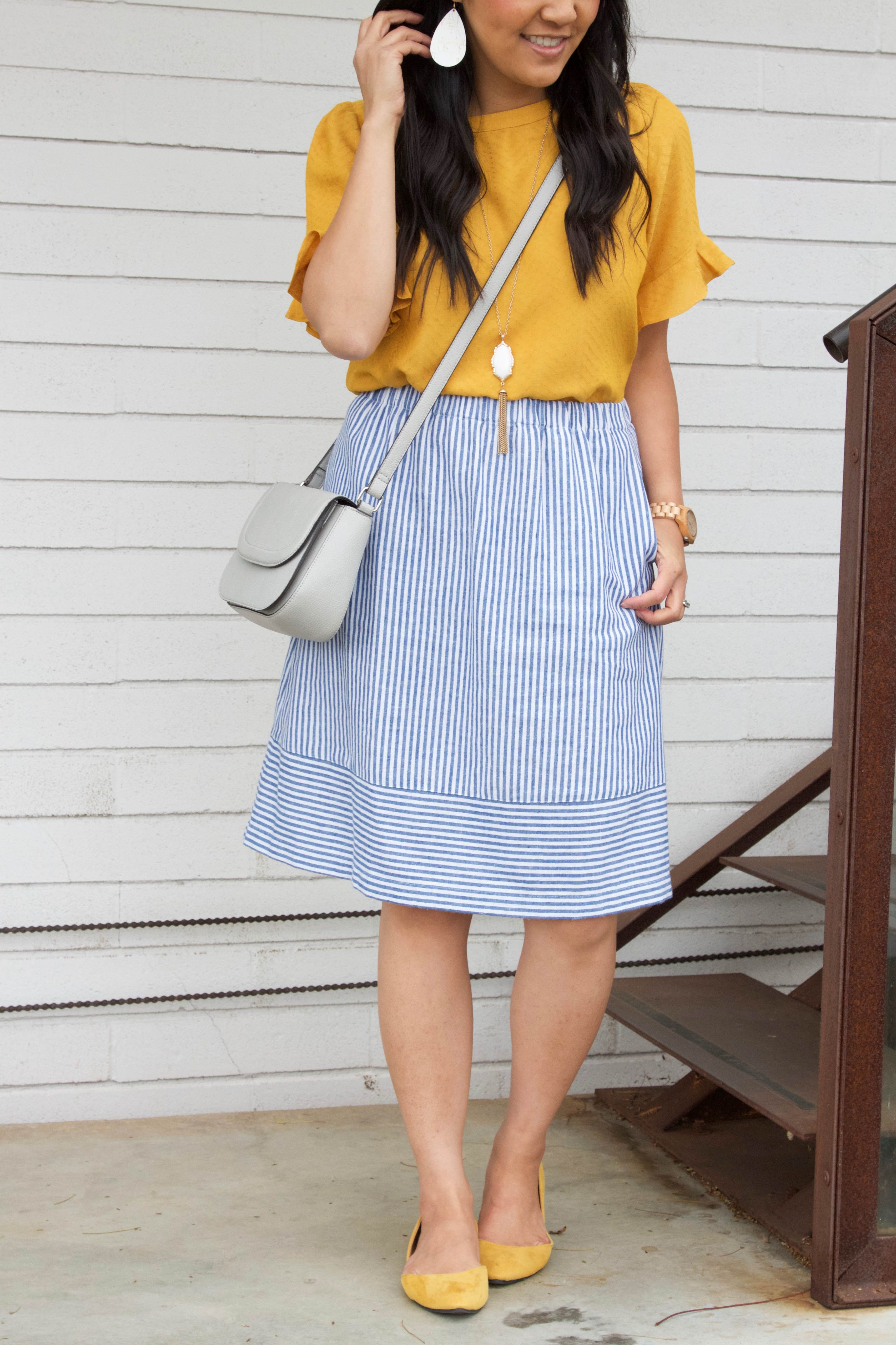 879a57306 Blue Skirt + Yellow Blouse + White Statement Necklace + Earrings + Flats