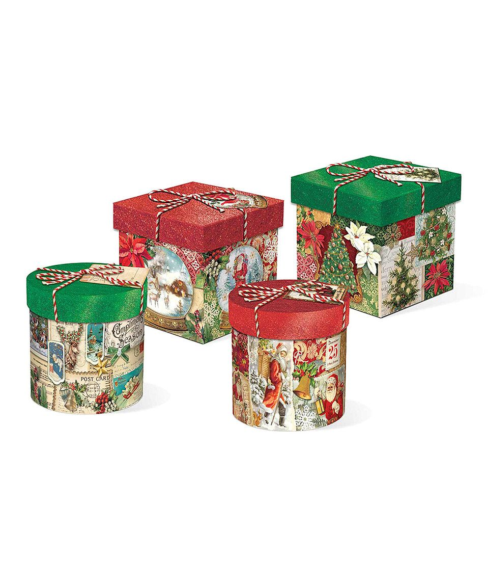 Christmas holiday glitter top trinket boxes set of four