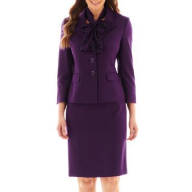 Le Suit® 3 Botton Rounded Notch Collar Soho Twill Jacket & Skirt with Scarf - JCPenney