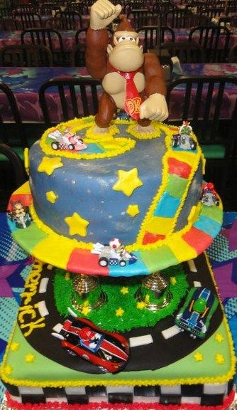 Magnificent Super Mario Kart Featuring Donkey Kong Birthday Cake From Cakes Funny Birthday Cards Online Amentibdeldamsfinfo