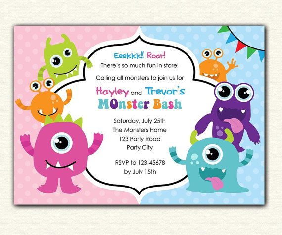 Printable Joint Birthday Party Invitations ~ Monster birthday invitation printable diy party for boys and girls personalized twin