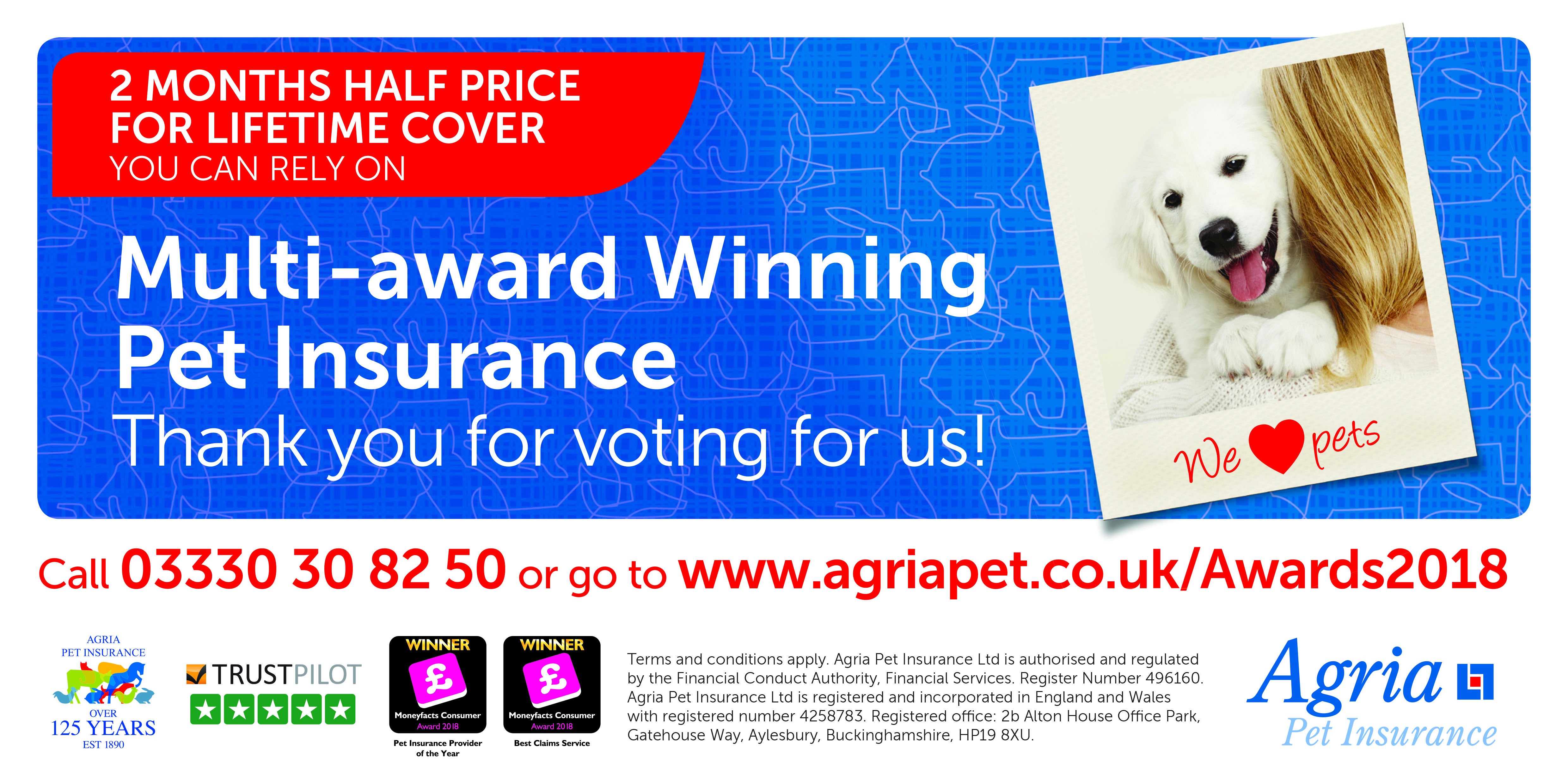 Advert From Agria Pet Insurance Featuring The Mfcawards Logo