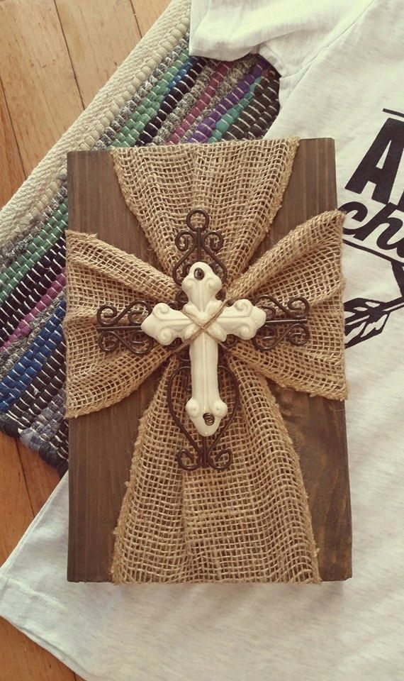 burlap cross plaque by sevenheartsforhope on etsy craft