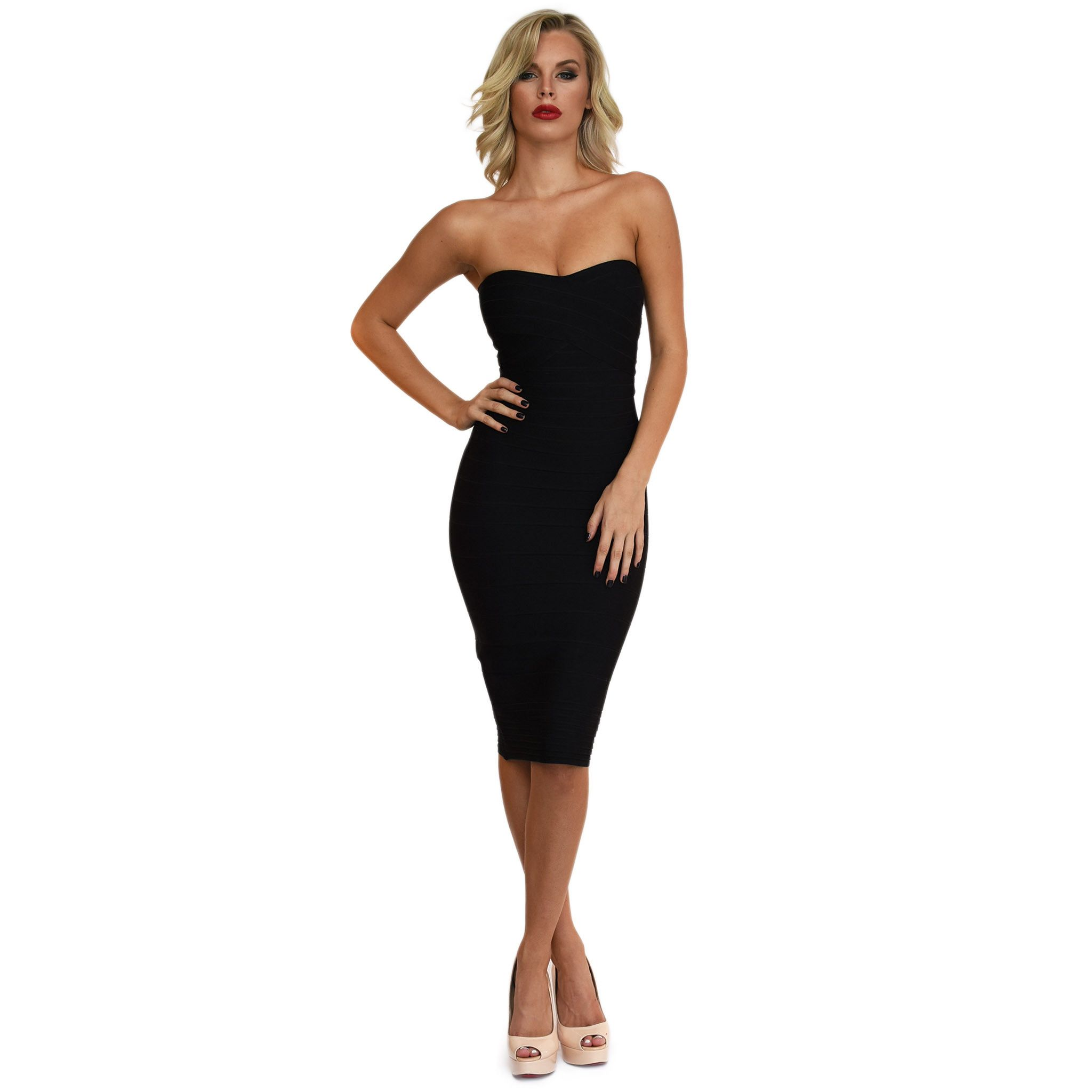 Front of black midi strapless bodycon bandage dress with