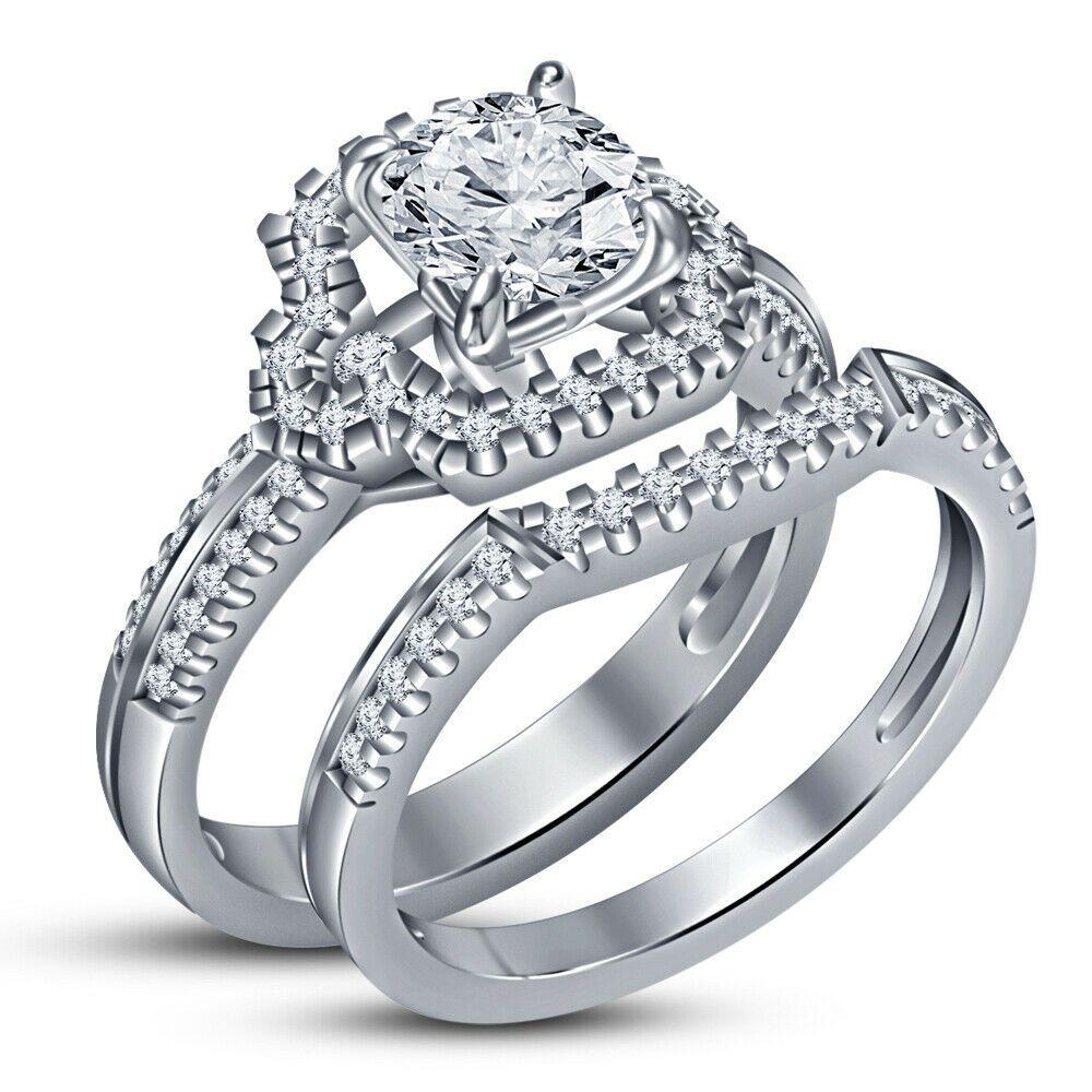 1.75Ct Three Stone Princess Cut Diamond Ring 14k White Gold Finish Size 7