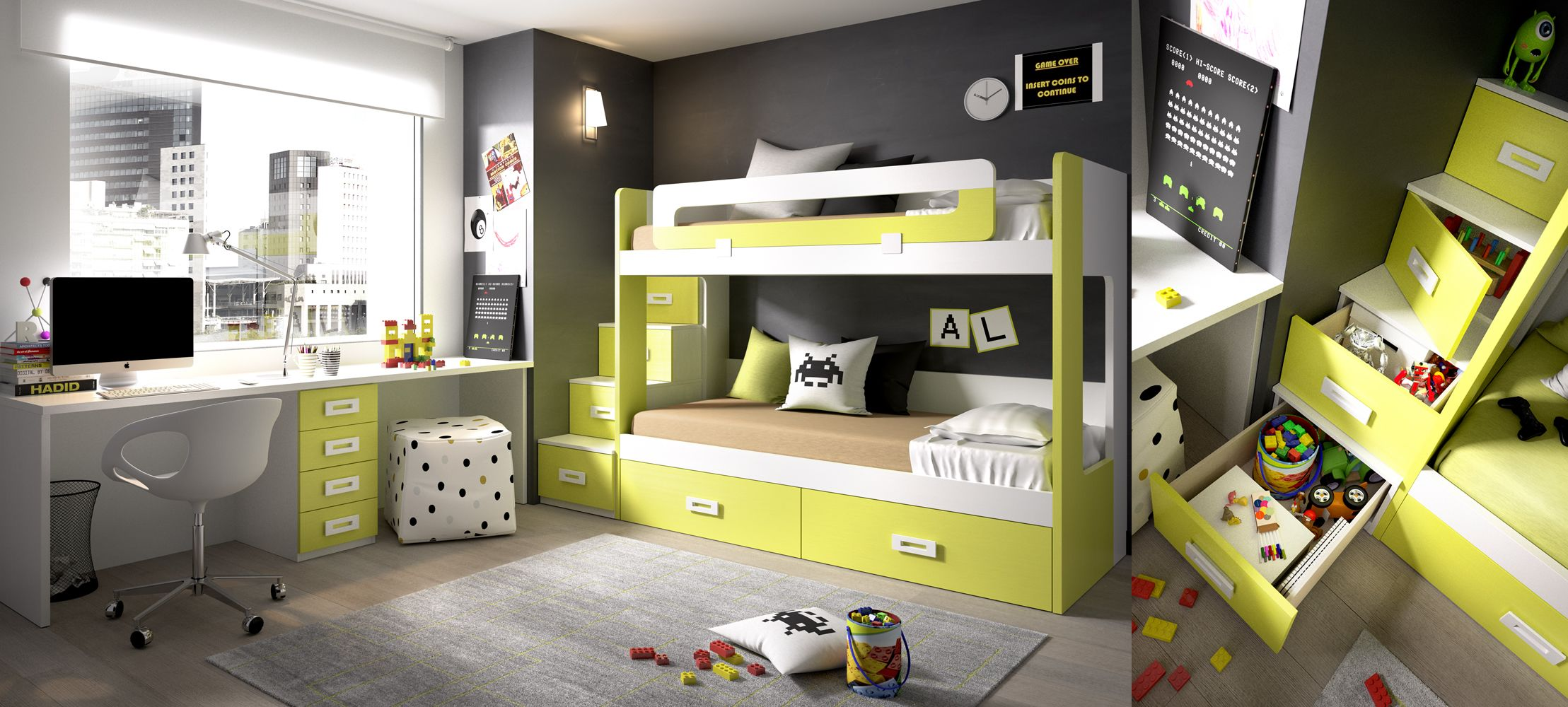 Extra Storage Kids Bedroom Set From Rimobel Furniture Spain With