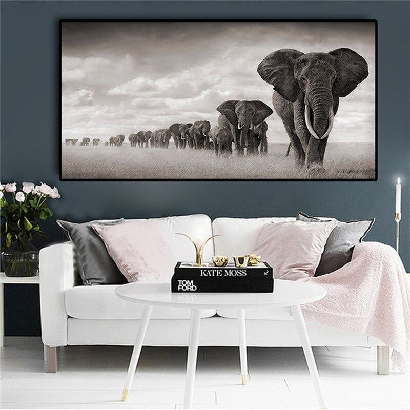 Hot African Elephant Wild Animal Decorative Painting Home Decoration Canvas Printings Unframed Wall Pictures For Living Room In 2020 Animal Canvas Paintings Elephant Canvas Wall Art Pictures