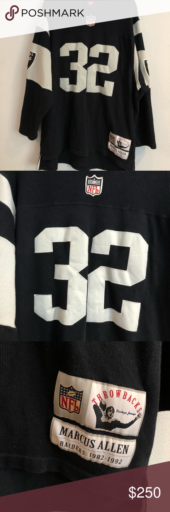 huge selection of 4e0f2 2658c NFL THROWBACK REEBOK RAIDERS MARCUS ALLEN JERSEY NFL ...