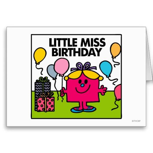 Little Miss Birthday Presents Balloons Card Zazzle Com Little Miss Books Mr Men Little Miss Little Miss Sunshine