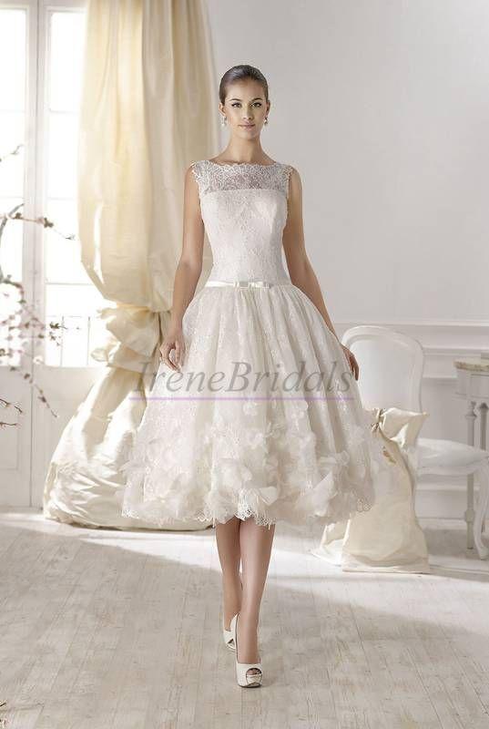 Entzückend Spitze Blumen Brautkleid kurz WD46212 | Lieblings ...