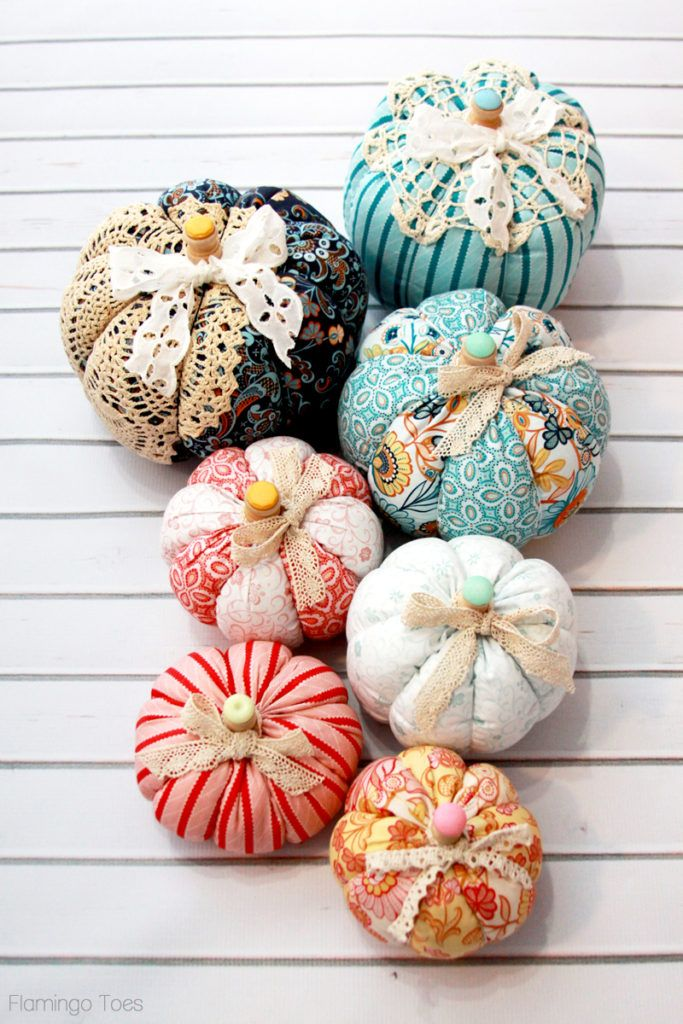 Colorful Fall Fabric Pumpkins (With images) Fall decor