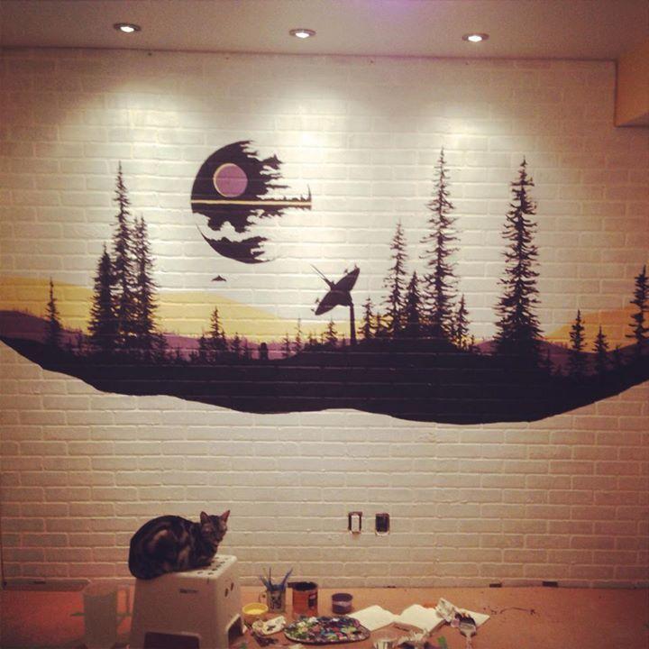 So I Painted This Thing Star Wars Mural Star Wars Wall Art Star Wars Wall Mural