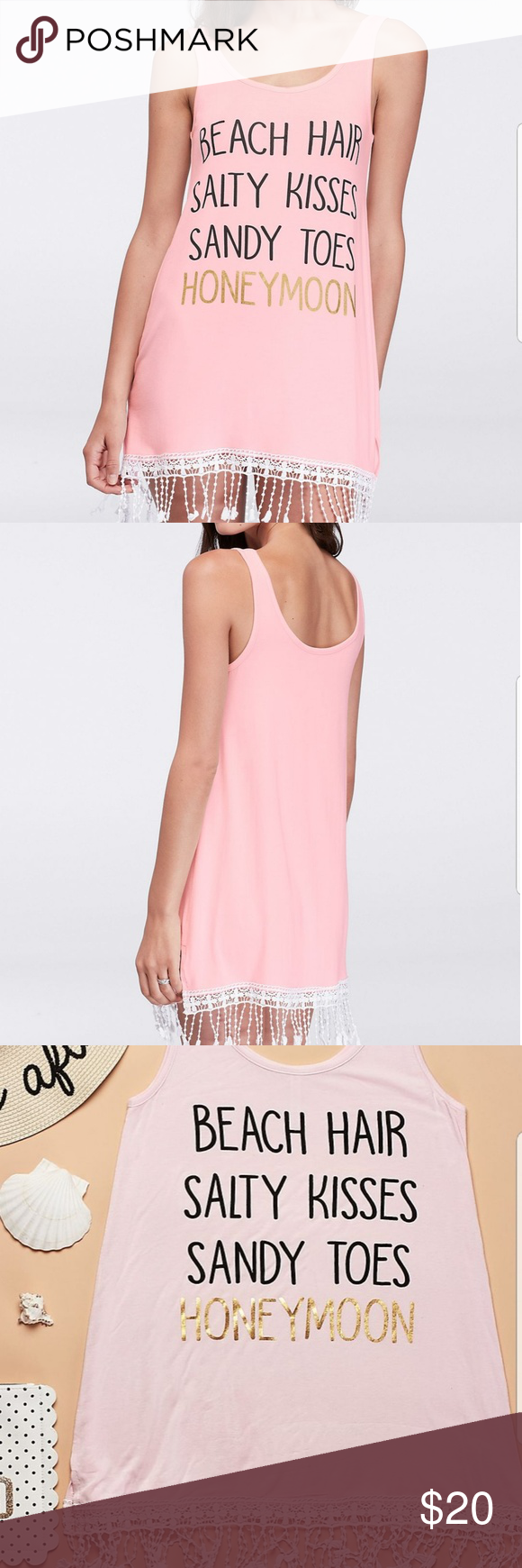 Crochet-Trimmed Honeymoon Beach Cover Up Beach hair, salty kisses, and sandy toes? Sounds like the perfect honeymoon! This is the perfect honeymoon beach cover up, made with crochet-fringed jersey.  David's Bridal exclusive, recieved as gift and never used. Rayon, spandex David's Bridal Swim Coverups #beachhoneymoonclothes Crochet-Trimmed Honeymoon Beach Cover Up Beach hair, salty kisses, and sandy toes? Sounds like the perfect honeymoon! This is the perfect honeymoon beach cover up, made with c #beachhoneymoonclothes