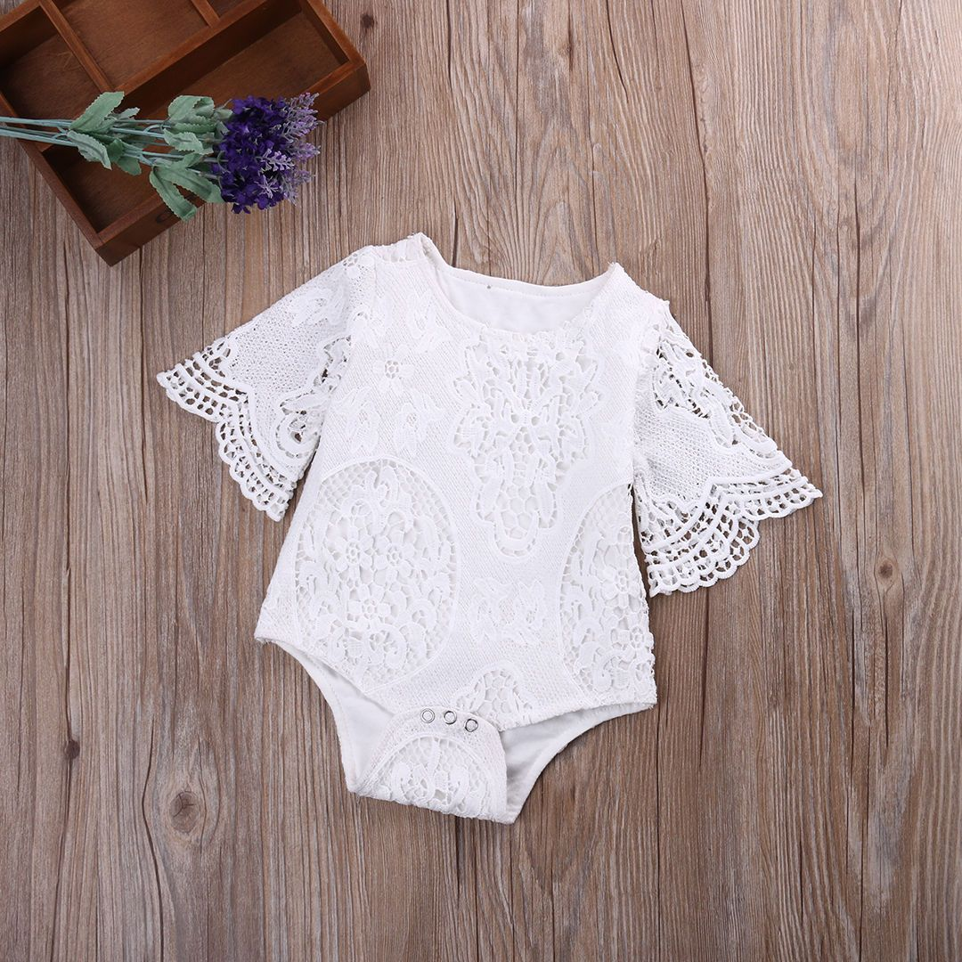 3ba3dfc715e9 Toddlerborn Kids Baby Girl White Lace Floral Romper Jumpsuit Outfits  Sunsuit  ebay  Home   Garden