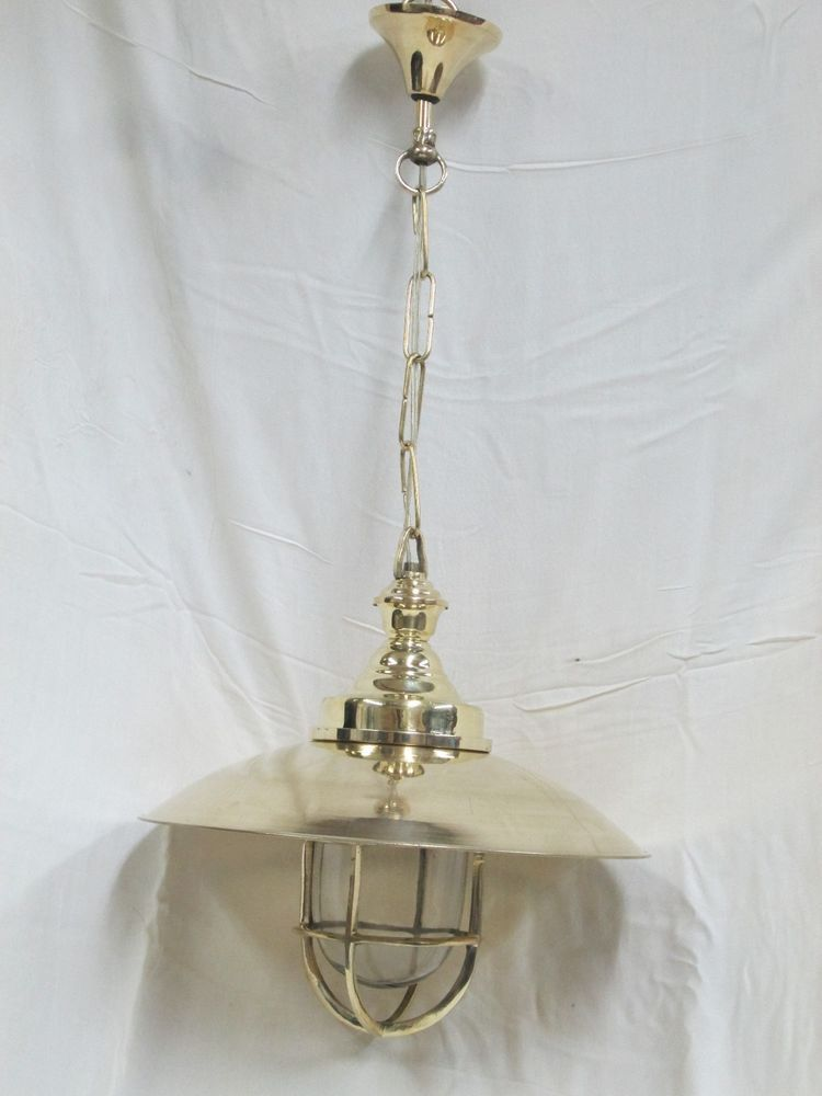 Vintage Genuine New Marine Hanging Brass Nautical Ship Light with big Shade   Material: Brass  Size  Height:   With Chain : 59cm Approximately Without Chain : 28cm Approximately  Weight: 1.300kg Approximately