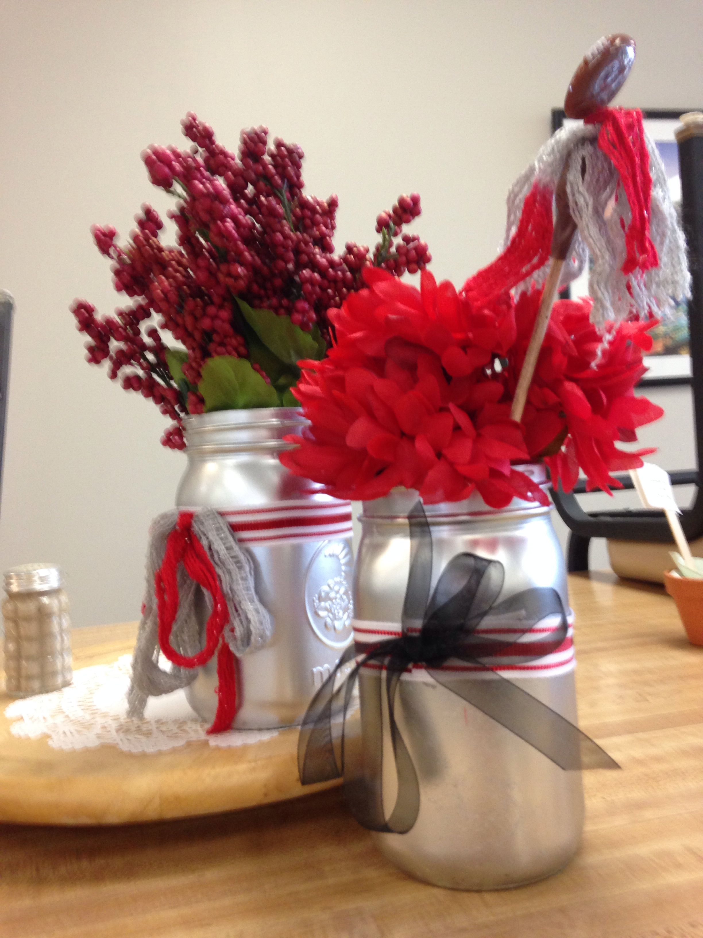Osu centerpiece mason jar ohio state flower arrangement