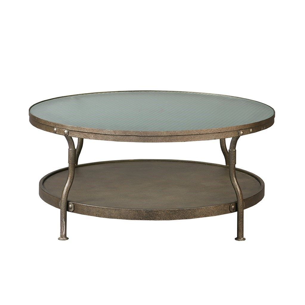 Cambridge 36d Coffee Table Frosted Wire Glass Is Inset Into Metal Frame With An Antique Silver Hand Patina Round Coffee Table Coffee Table Round Coffe Table [ 1023 x 1023 Pixel ]
