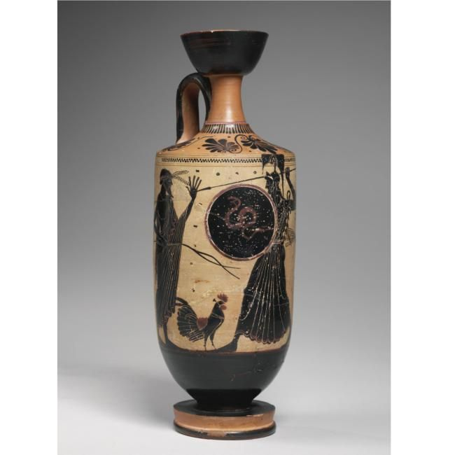 A Terracotta Attic Black Figure White Ground Lekythos Attributed To The Athena Painter
