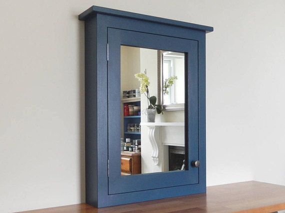 Bathroom Wall Cabinet Stiffkey Blue With Inset Mirror Storage Cupboard Vanity