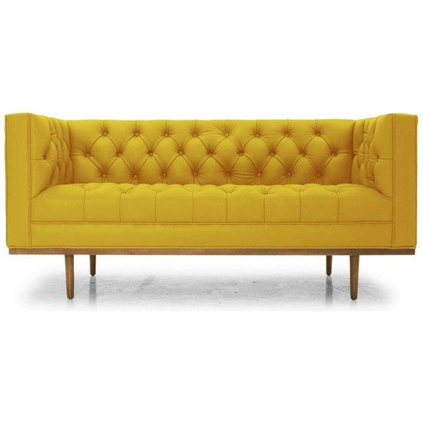 Welles Mid Century Modern Yellow Leather Loveseat 6 385 Aud