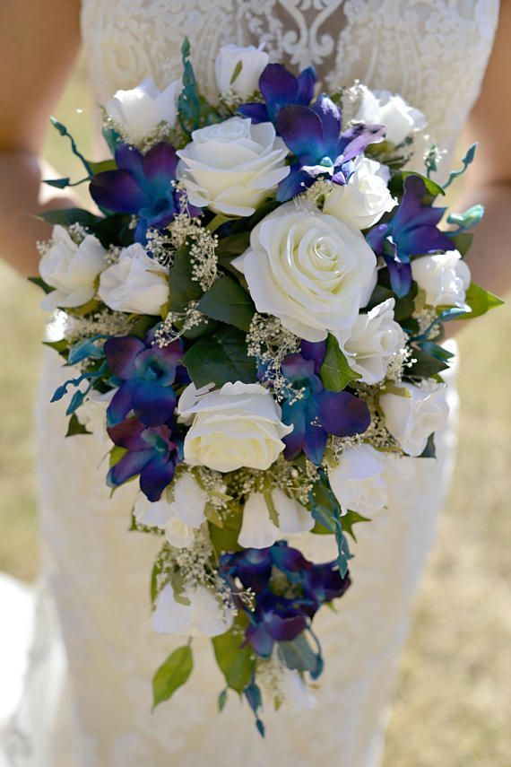 Brandy's Cascade Bridal Bouquet with Blue Violet Dendrobium Orchids Babies Breath Ivory Open Roses Closed Ivory Roses