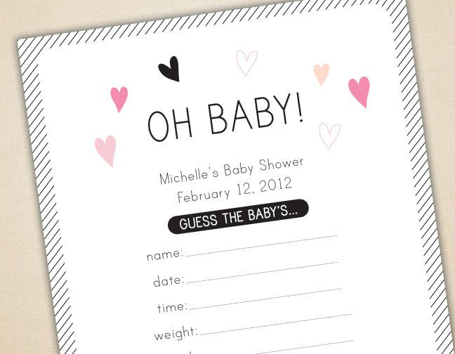 Oh Baby Game, Baby Shower Cards and Sign, Guess Weight ...