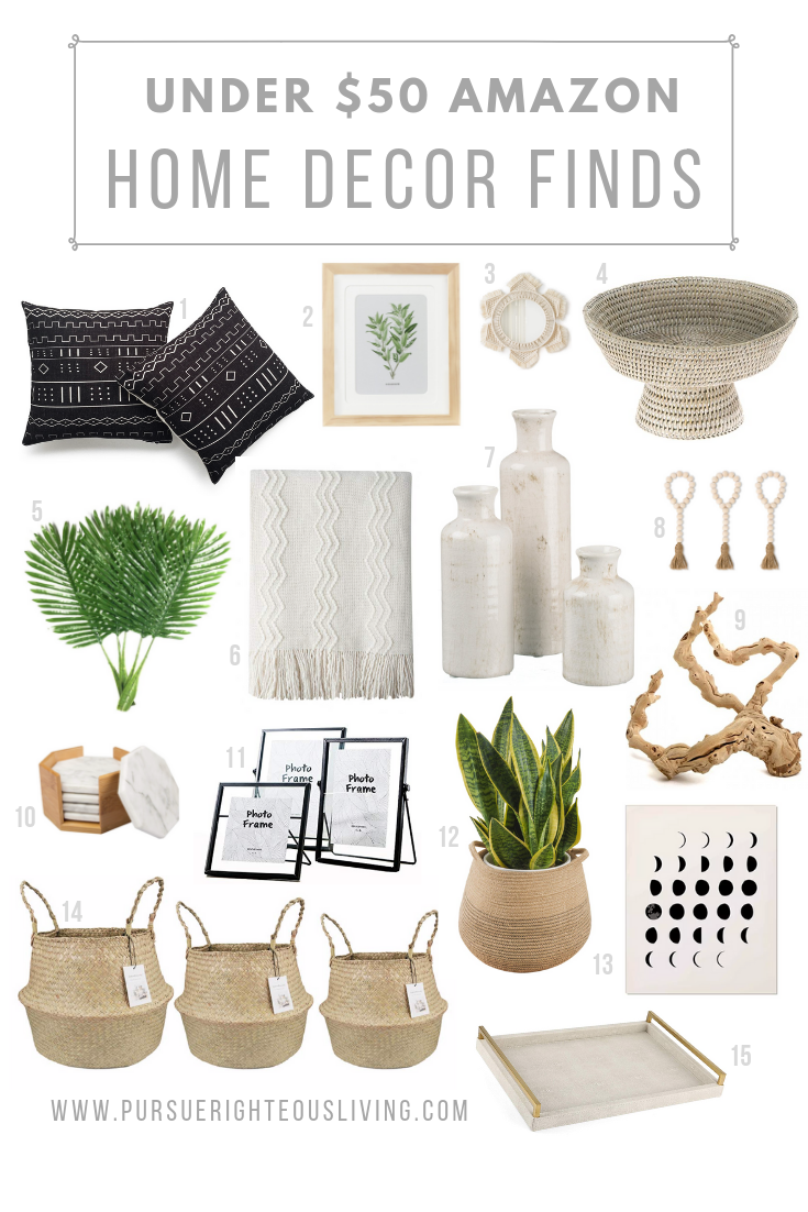 Affordable Amazon Home Decor Finds • Pursue Righteous Living  If you haven't checked Amazon for home decor, you are missing out!  Home design, decoration, decorating, modern boho, bohemian, contemporary, farmhouse, coastal, cheap, humble abode, modern coastal #amazonhomedecor
