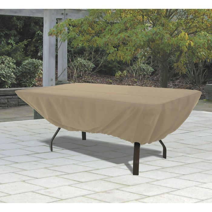 Classic Accessories Rectangular Patio Table Cover — Tan, Model# 58242 |  Patio Furniture Covers - Classic Accessories Terrazzo Rectangular/Oval Patio Table Cover