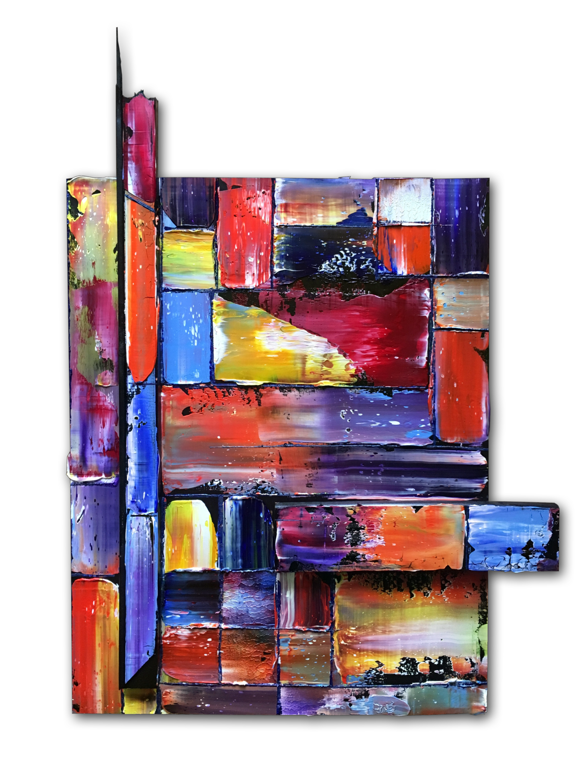 Tetris Assembled Sculptural Abstract Painting Tetris Art Painting Abstract Painting