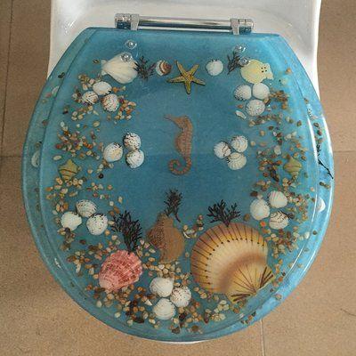 Awe Inspiring Daniels Bath Sea Treasure Elongated Toilet Seat Color Blue Short Links Chair Design For Home Short Linksinfo