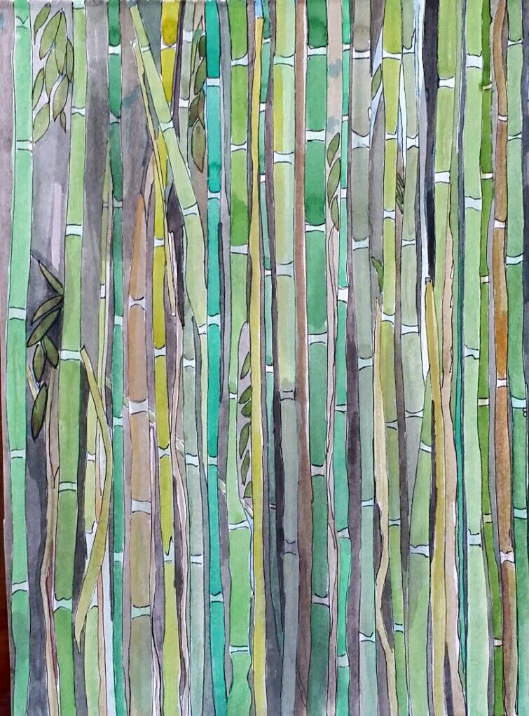 bamboo garden sketch visual diary art journal green - Bamboo Garden 2016