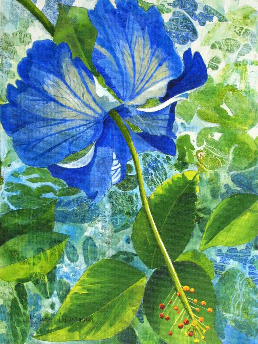 Contemporary Painting Blue Hibiscus Original Art From Marcy Lansman Bright Colors Art Flower Painting Watercolor Flowers