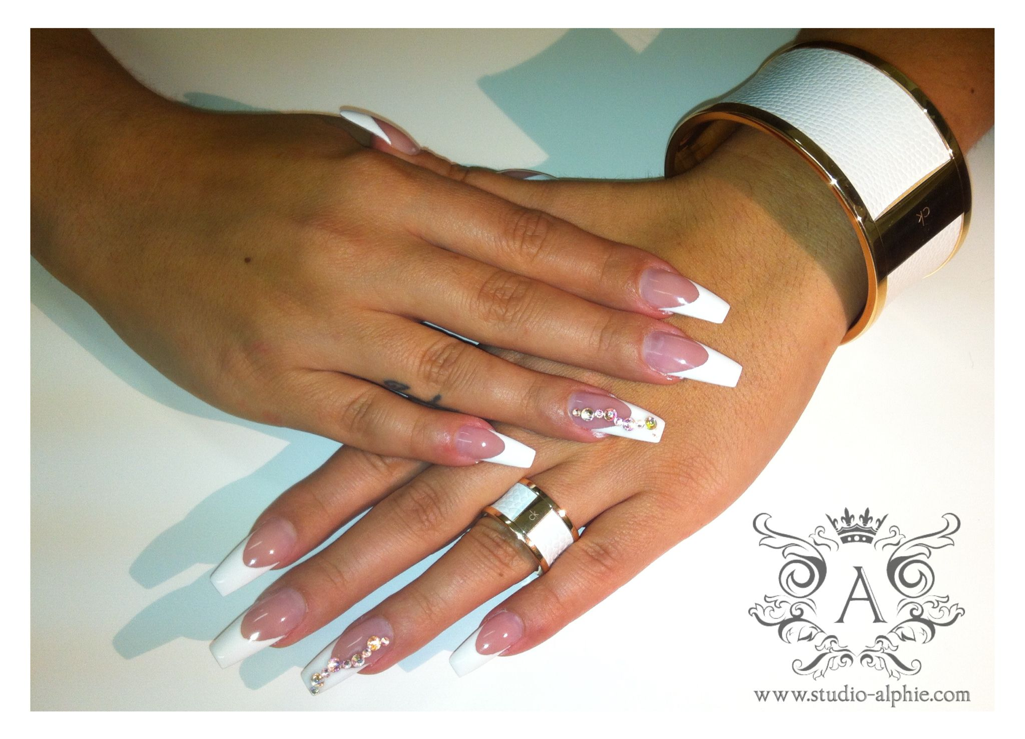 Classic french, ballerina nail form, Calvin Klein jewelry. | Nails ...