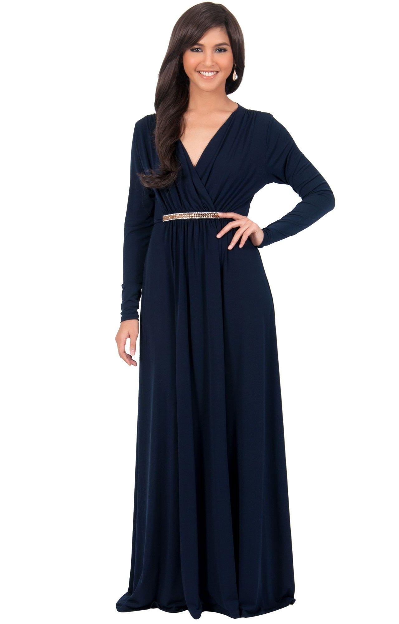 Tiffany Long Sleeve Kaftan Fall Flowy V Neck Maxi Dress Gown Abaya Long Sleeve Maxi Dress Dresses Gowns [ 2000 x 1280 Pixel ]