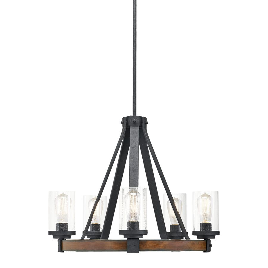 shop kichler lighting barrington 5 light distressed black and wood chandelier at lowescom chandeliers for dining roomdining