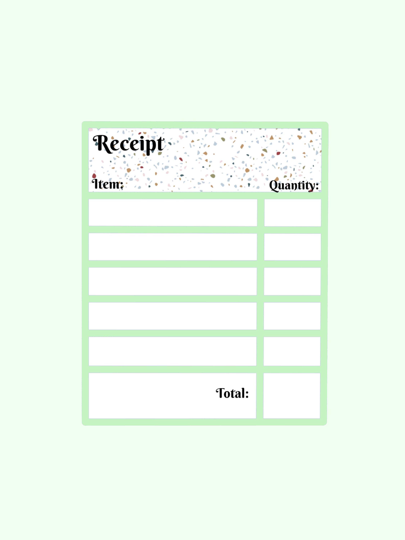 Mini Small Business Terrazzo Receipt Template Etsy In 2021 Receipt Template Small Business Budget Organization