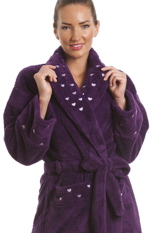 4594800bc3 Womens Dark Purple Supersoft Fleece Heart Print Bathrobe