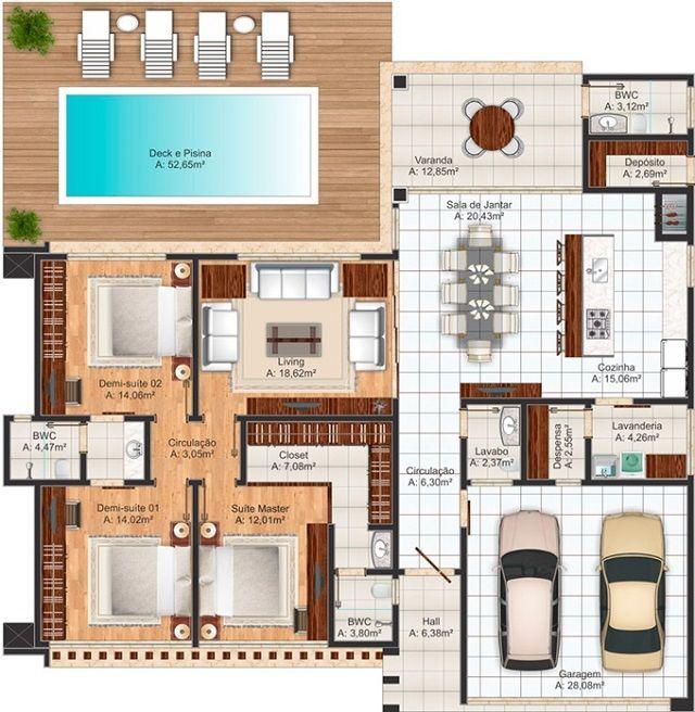 Plano de casa de 212 m2 fachadas interesantes for Planos de casas con piscina