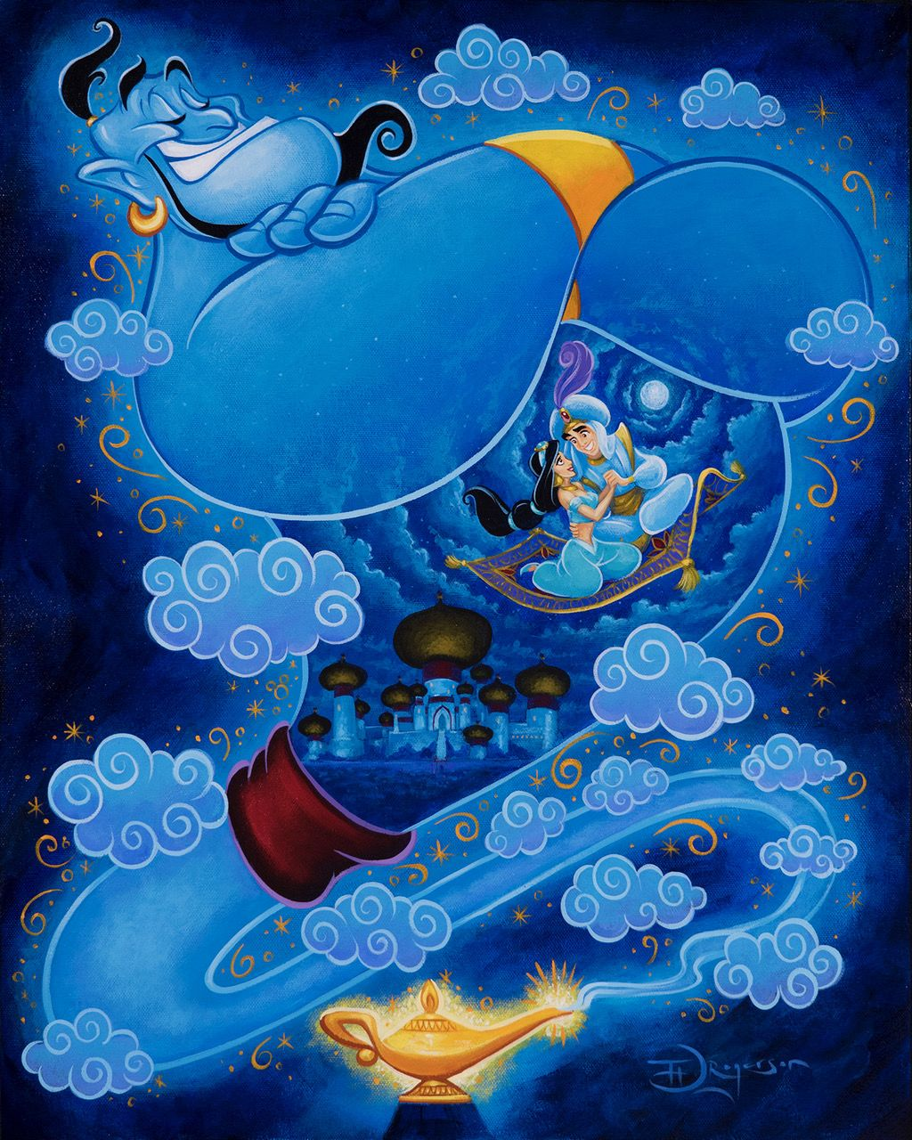Genie with the Magic Lamp of Aladdin and Princess Jasmine on the Magic Carpet