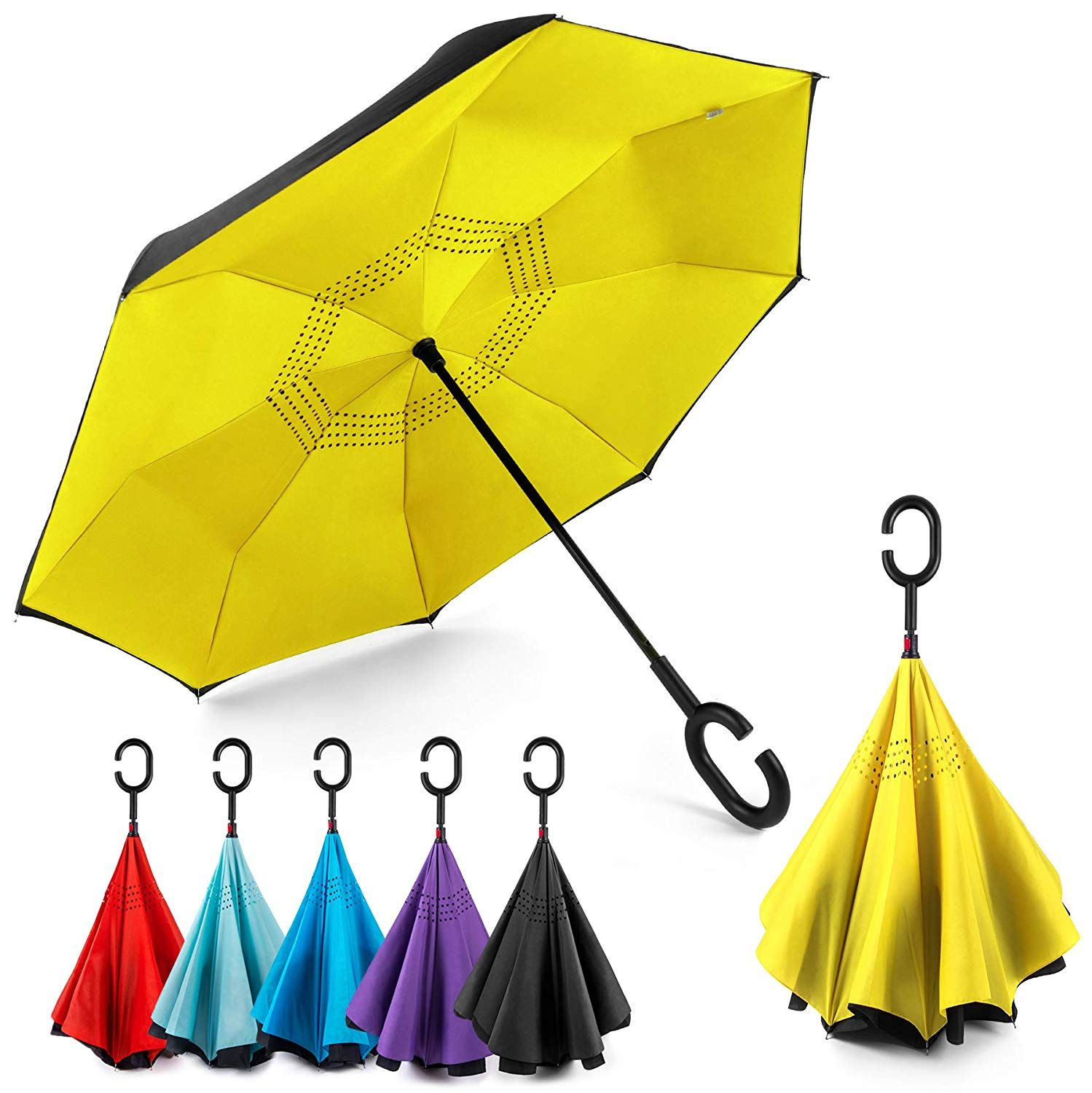 Upside Down Umbrellas with C-Shaped Handle for Women and Men Double Layer Inside Out Folding Umbrella Reverse Inverted Windproof Animal Canine Teacup Dogs Umbrella