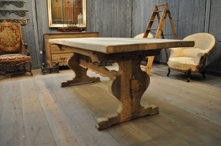 french vintage oak trestle farm dining table with sculpted trestle
