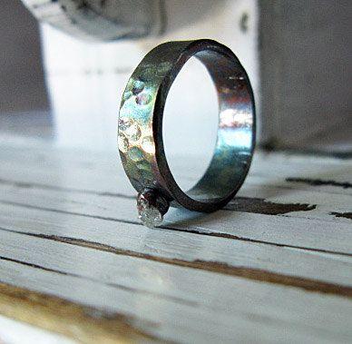 Raw Diamond Ring Oxidized Silver by HotRoxCustomJewelry on Etsy, $129.00