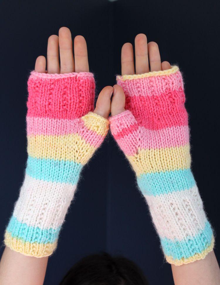 Learn To Knit Happy Hands Fingerless Mitts Free Pattern Crochet