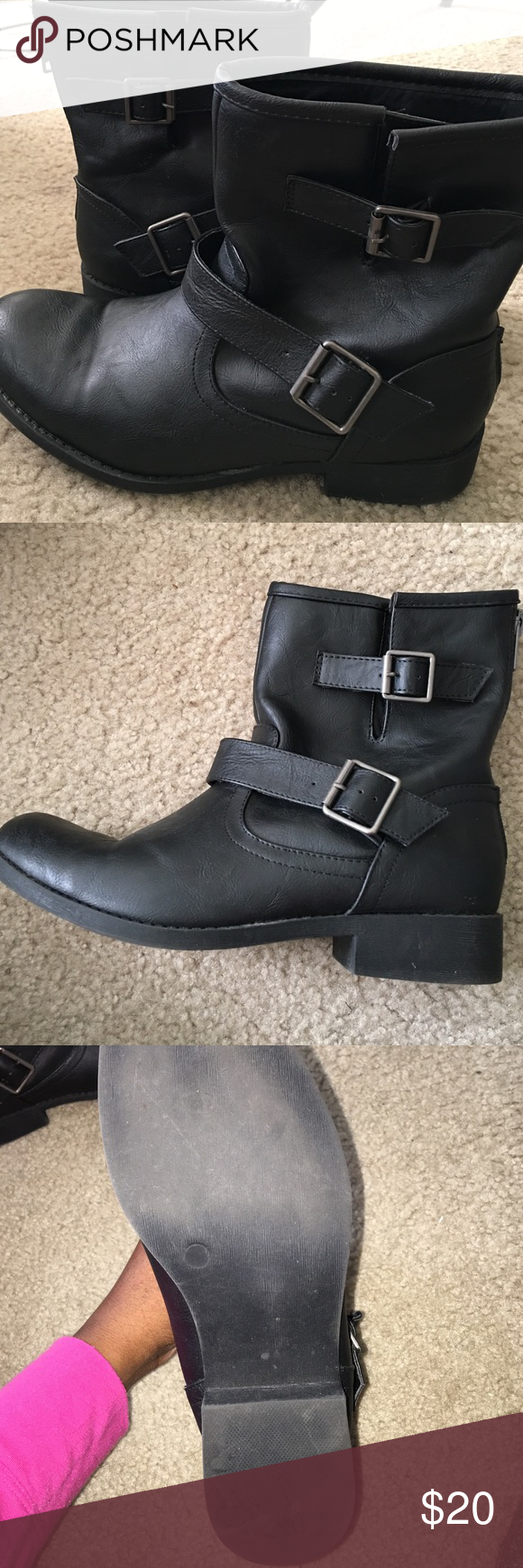 Leather Moto Ankle Boots Purchased from Charlotte Russe. Size 10, gently worn. Charlotte Russe Shoes Combat & Moto Boots