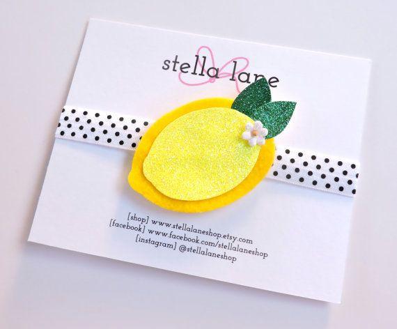 Lemon Sparkle Headband - baby girl headband - polka dot elastic - toddler headband - hair clip